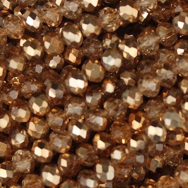 Rondelle in Cristallo Sfaccettato 4x3mm metal miele