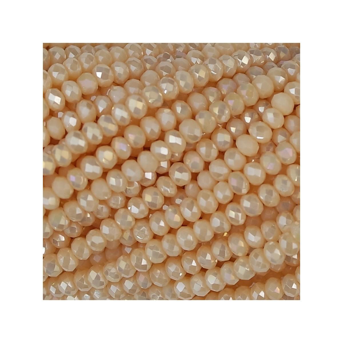 Rondelle in Cristallo Sfaccettato 2 x 2,5 mm Cream