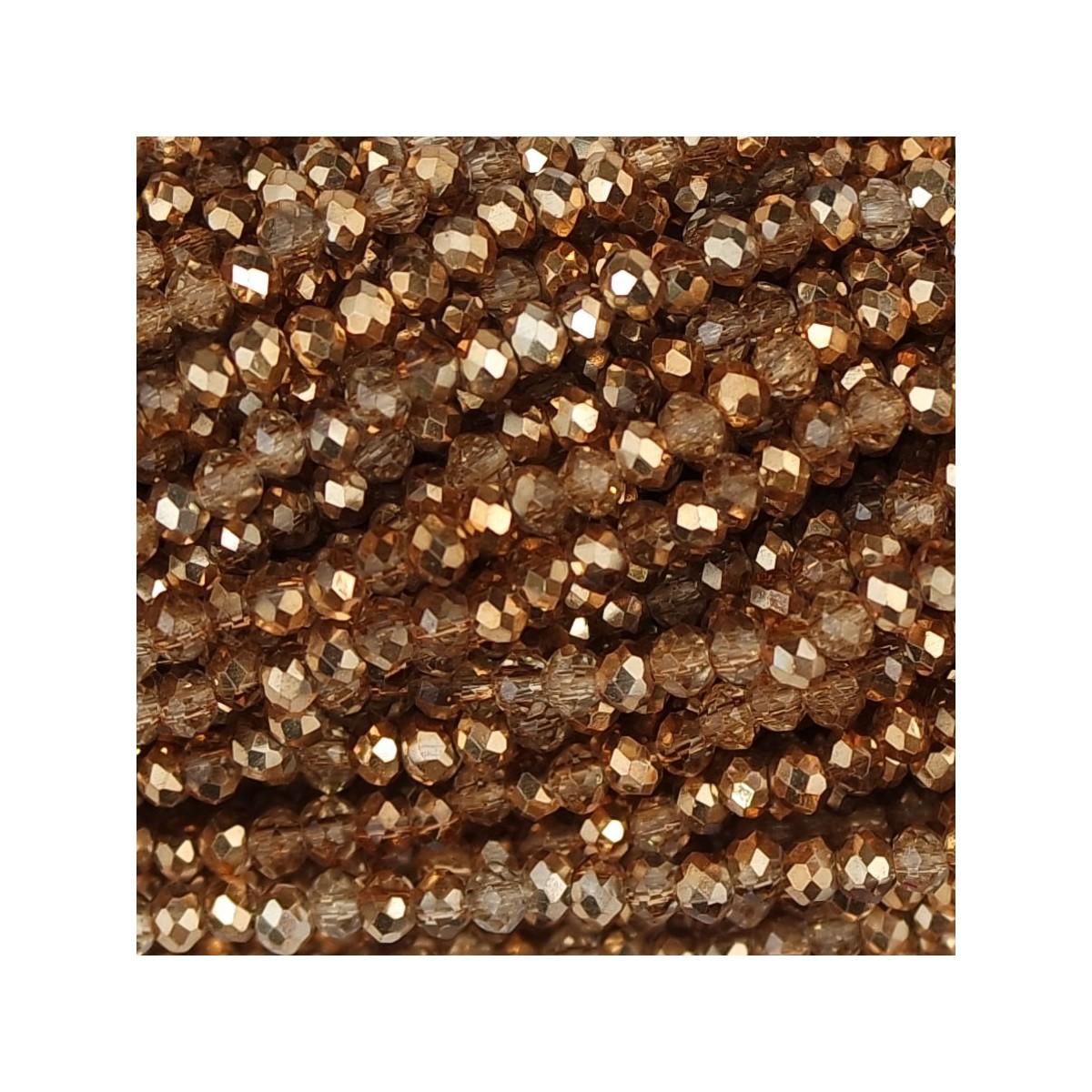 Rondelle in Cristallo Sfaccettato 2 x 2,5 mm hot gold