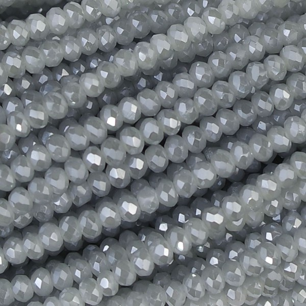 Rondelle in Cristallo Sfaccettato 2 x 2,5 mm pearl