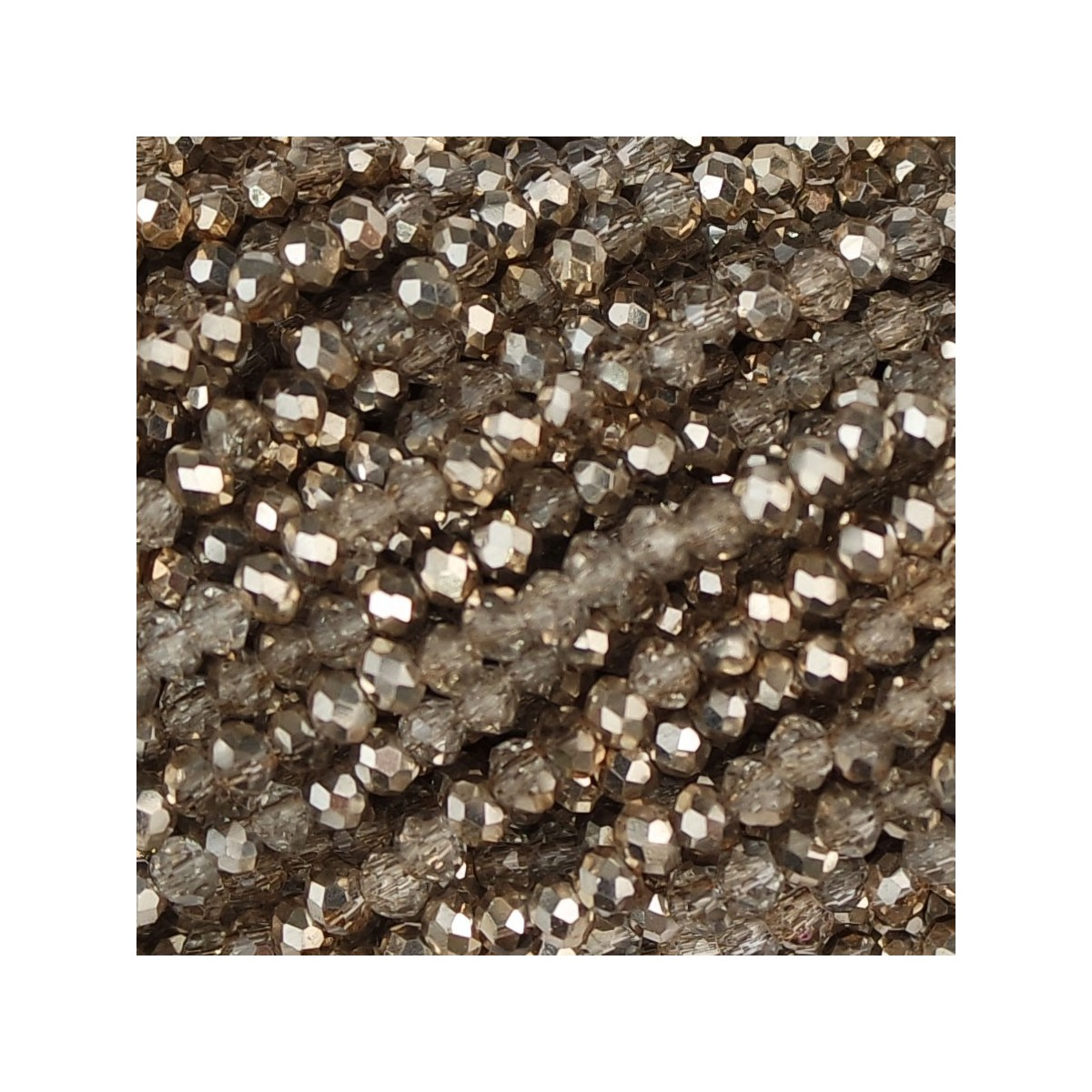 Rondelle in Cristallo Sfaccettato 2 x 2,5 mm silk flash