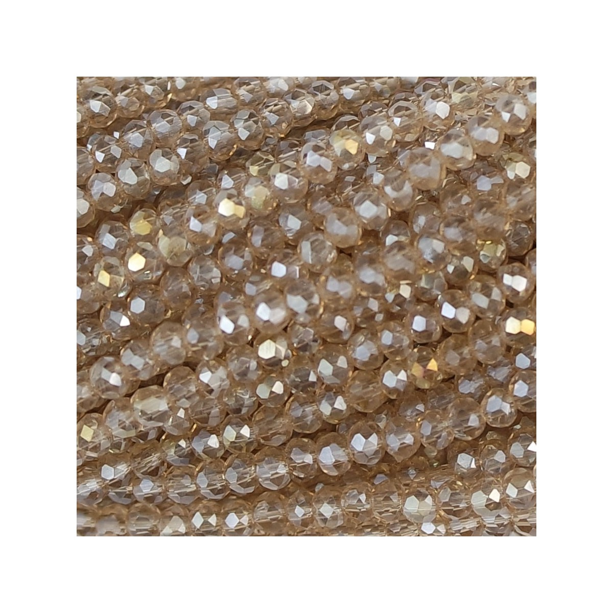 Rondelle in Cristallo Sfaccettato 2 x 2,5 mm silk
