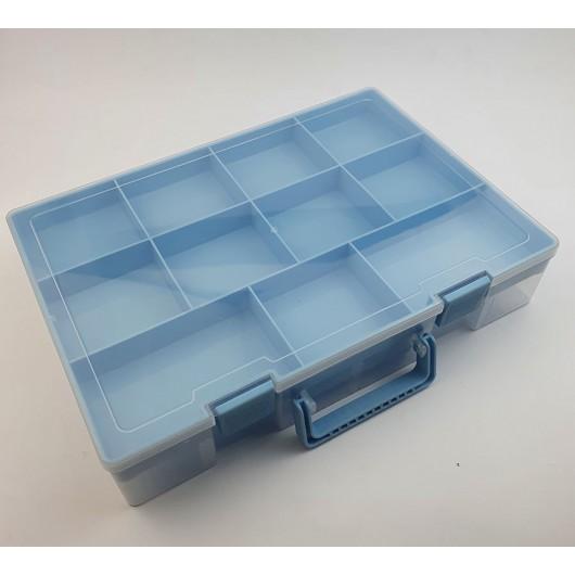 Contenitore a valigetta azzurra - 2 ripiani
