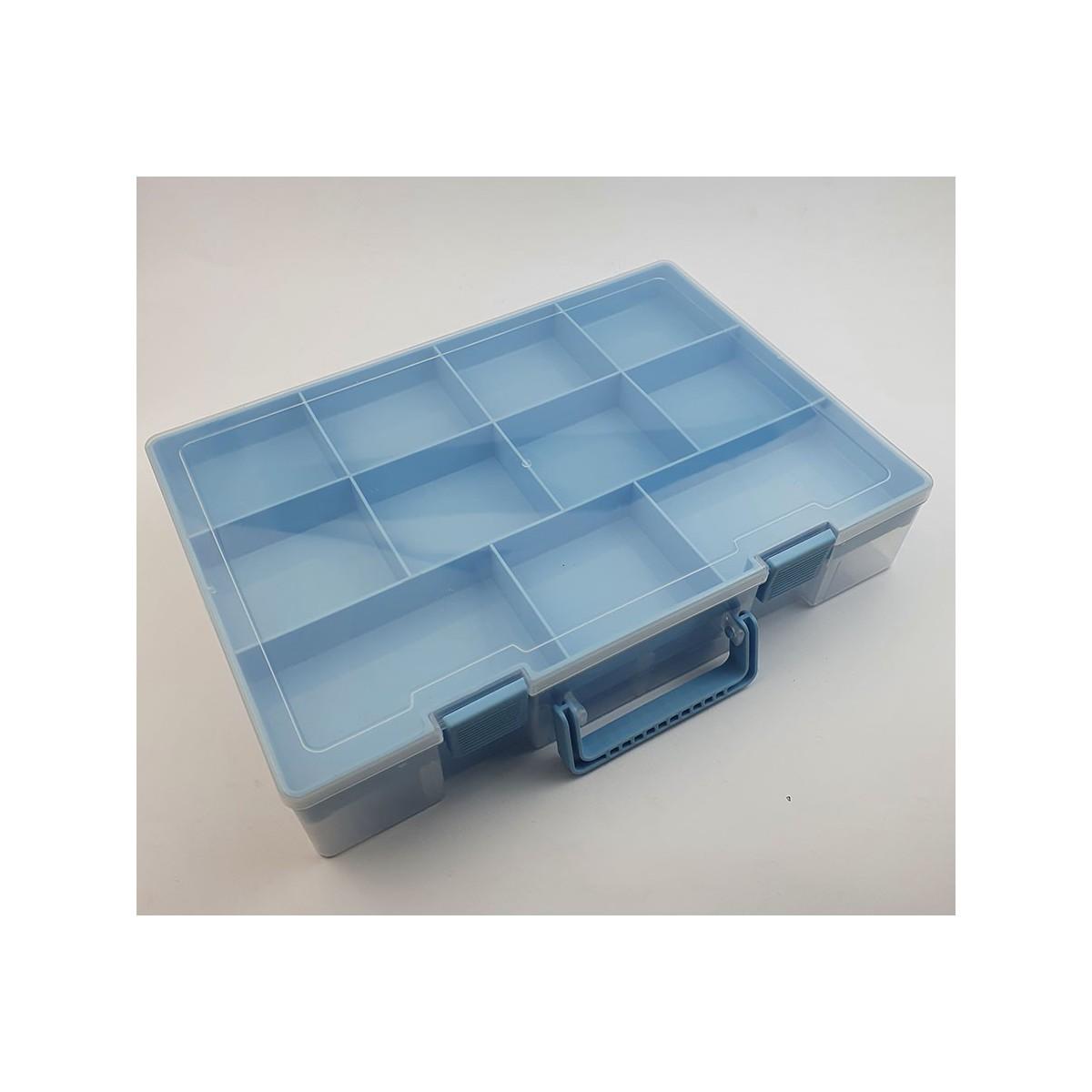 Contenitore perline - valigetta azzurra - 2 piani