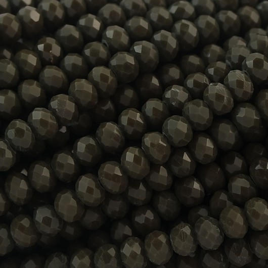 Fire Polished faceted flat round 4x3mm Black