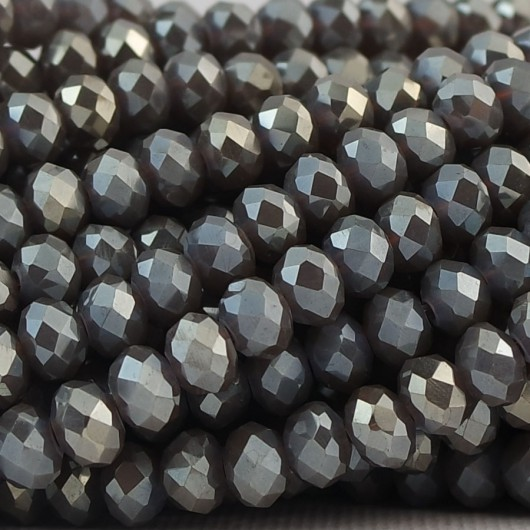 Fire Polished faceted flat round 6x4mm BLACK