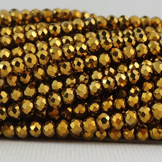 Rondelle in Cristallo Sfaccettato 3x2,5mm AURUM