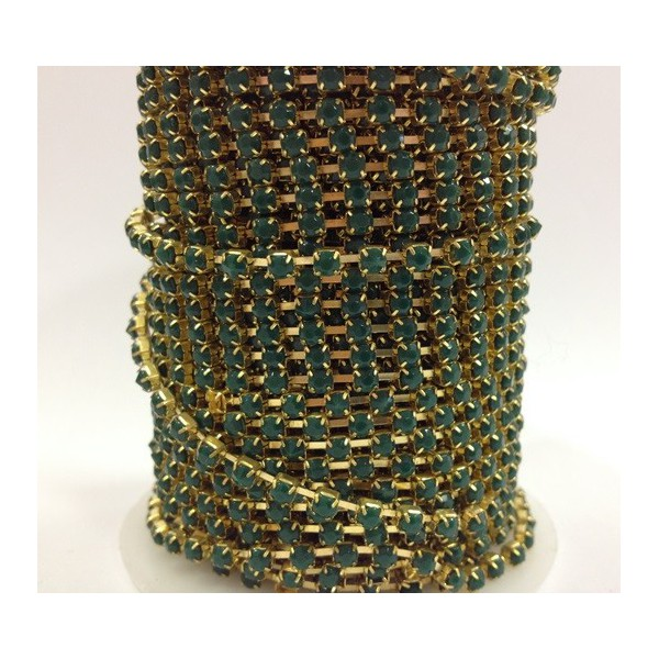 Catena con Strass in Resina 4mm Emerald