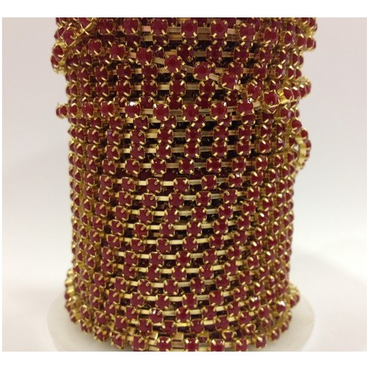 Catena con Strass in Resina 4mm Fucsia Fluo
