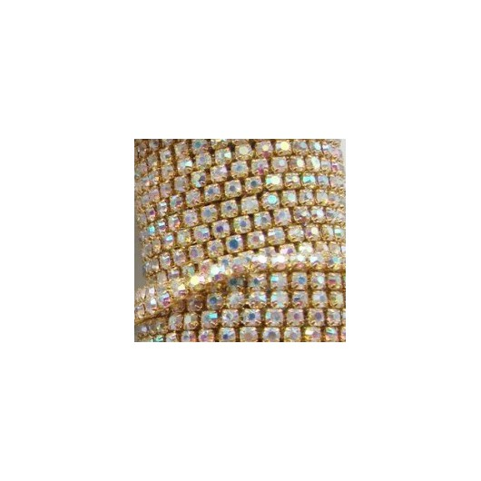 Catena con Strass in Cristallo AB 4mm Oro