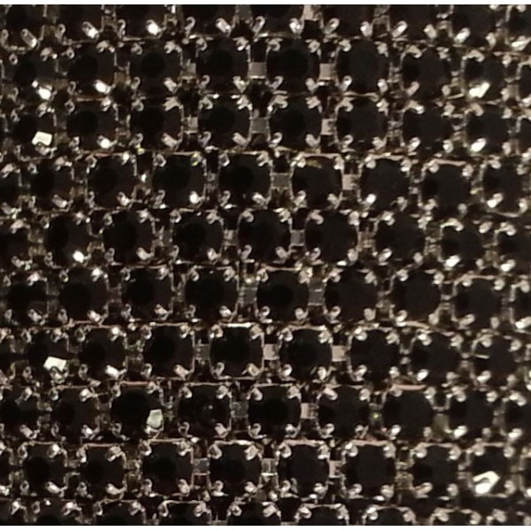 Catena con Strass in Cristallo Nero Silver 3mm