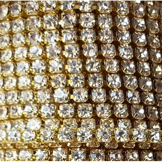 Catena con Strass in Cristallo 3mm Oro