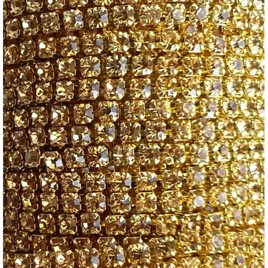 Catena con Strass in Cristallo Light Col Topaz 3mm