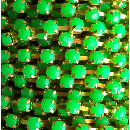 Catena con Strass in Resina 4mm Verde Fluo