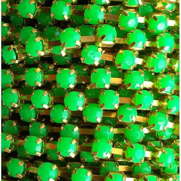 Catena con Strass in Resina 4mm Verde Fluo